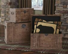 New Brown Distressed Look Finish Set of 3 Wood Trunks