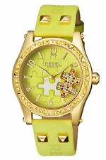 Rebel Women's RB111-9171 Gravesend Gold IP Steel Lime-Green Leather Wristwatch