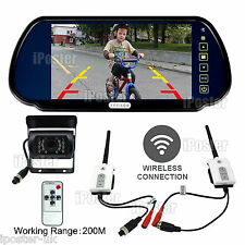 "7"" Mirror Monitor 4PIN CCD Backup Camera Digital Wireless Receiver Transmitter"