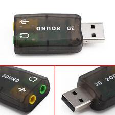 External 5.1 USB to 3.5mm Audio Adapter 3D Sound Card mic headphone Raspberry UK