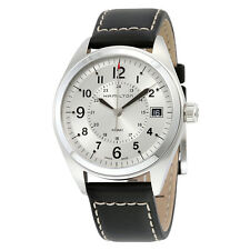 Hamilton Khaki Field Silver Diall Black Leather Mens Watch H68551753