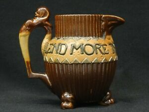 Antique DOULTON Lambeth Small Stoneware Motto JUG, Egyptian Sphynx Handle 1890s