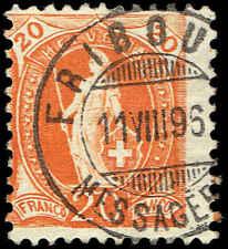 Scott # 82 - 1882 - ' Helvetia '; Large Numerals