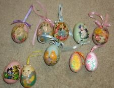 10 Assorted Easter Eggs Rabbits Flowers Beaded Ornaments