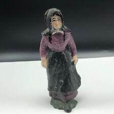 ANTIQUE CAST IRON TOY FIGURE Amish family statue pilgrim church mother purple us