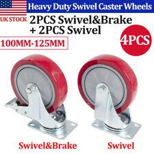 4 Pack Heavy Duty 4 5 Rubber Swivel Castor Wheels Furniture Trolley Castor Us