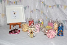 10 High Quality Plastic Sweet Jars with 50 Bags, 2 Tongs Candy Cart/Sweet table