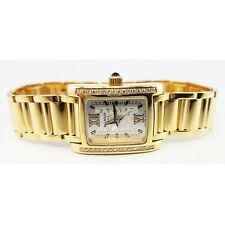 18k Yellow Gold Pierre Balmain Round Diamond Watch Rectangle Face Roman Numerals