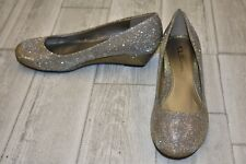 CL By Laundry Marcie Glitter Wedge Pumps, Women's Size 7.5M, Champagne NEW