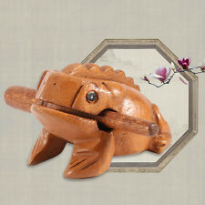 Wood Thailand Traditional Craft Lucky Frog Toads Home Office Decor Money Drawing