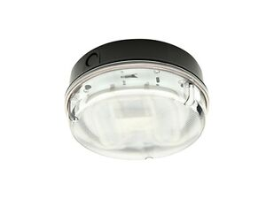 IP65 16W Round Bulkhead Prismatic Diffuser Black Base- Indoor or Outdoor-Branded