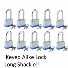 Lot of 10 Piece 40mm Laminated Pad Locks Keyed the Same Alike Wholesale