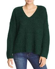 Sadie & Sage Womens Knite V-Neck Sweater Small Emerald Green