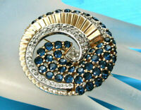 GORGEOUS VINTAGE SIGNED JOMAZ SAPPHIRE BLUE AND PAVE CRYSTALS ROUND SWIRL BROOCH