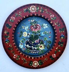 "11 1/2""Hand painted wooden plate ,  Os Norwegian  Rosemaling"