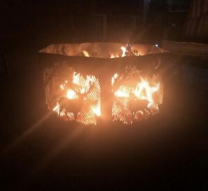 Stag animal hexagonal fire pit black finish with grill