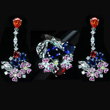 MAGNIFICENT RUBY & SAPPHIRE 9.10 CT. STERLING 925 SILVER FLOWER RING/EARRINGS