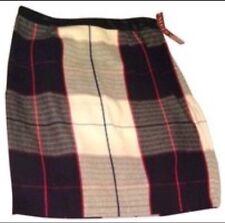New Retro Vintage MOD Merona Navy Multi Plaid Faux Leather Waist Pencil Skirt 16