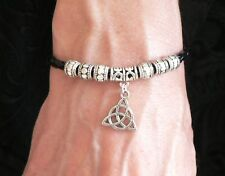 Charmed 'Power of Three' Bracelet Triquetra Black Synthetic Leather Thong Gift