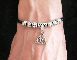 Charmed 'Power of Three' Triquetra Bracelet Silver Black Leather Thong Gift