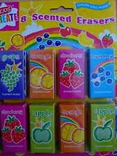 8 Childrens Kids Fruit Scented Rubbers Erasers Ideal Gift or Party Bag Fillers