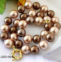 """Natural 12mm multicolor south sea shell pearl necklace 18""""AAA+"""