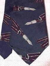 Vintage New Haven Neckwear Corner PEN calligraphy WRITERS blue silk tie