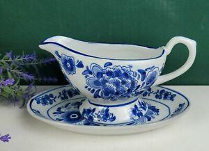 Gravy Boat + Spill Plate - Blue Floral Against White Ceramic