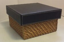 "Lidded Wicker Basket 8""x8""x4.5"" Home Office Decor Preowned"