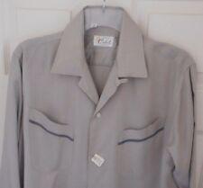 NOS 50s CABOT Silver Iridescent! 2 Pocket! Loop Collar! Long Sleeve ROCKABILLY M