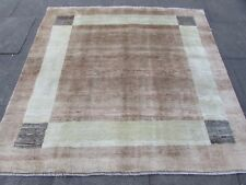 Old Traditional Hand Made Persian Oriental Gabbeh Rug Wool Brown Beige 186x190cm