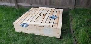 "Sandbox plan with benches/Sandbox with Cover/ DIY sandbox plan 48"" × 48"" step by"