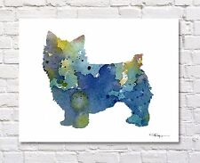 Norwich Terrier Contemporary Watercolor Abstract Art Print by Artist Djr