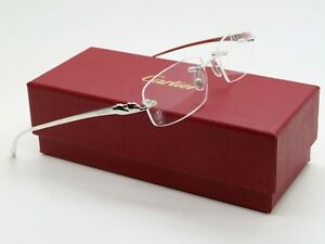 CARTIER PANTHERE CT0061O 003 Silver Rimless Authentic Eyeglasses