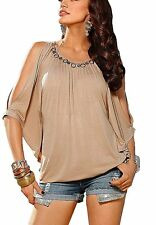 J1377 Melrose Damen Shirt mit Gold Applikation Fledermaus Ärmel Beige 38