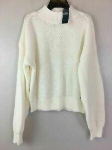 Women's Hollister Long Sleeve Funnel Neck Knit Sweater, Size M - White