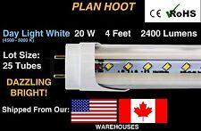 G13 20 Watt 5000K T8 4 FT Fluorescent Replacement 25 LED Tube Lights Clear Lens*