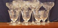 14 Vintage Crystal Cut Glasses with Floral Etched Design in 3 Styles of Stemware