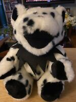 """Grateful Dead Jointed Limbs Bear 14"""" Plush White Black Dots W/ Tag Vintage"""