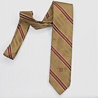 Givenchy Gentlemen Paris Vintage  Tie necktie brown red stripes polyester