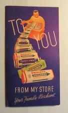 Late 1940's Wrigleys Chewing Gum Advert. Folder W/ 2 Sticks Of Gum Free USA Ship