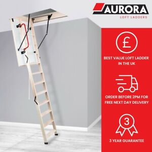 Aurora Thermo Komfort Fold Timber Loft Ladder & Insulated Hatch (Various Sizes)