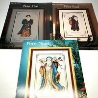 3 Pere Noel Santa Vtg Cross Stitch Patterns Bette Ashley, France, Germany