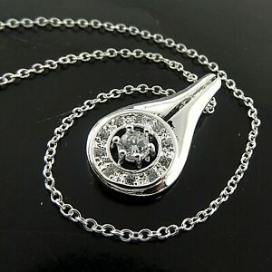 Necklace Pendant Chain Genuine 925 Sterling Silver Filled Diamond Simulated