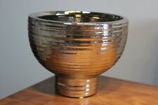 Vase/Übertopf a.Keramik, Farbe Silber, H 13 cm, Durchmesser 17 cm, Blumenschale