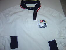 """NEW MENS RALPH LAUREN WHITE  """"YATCH"""" L/S RUGBY SHIRT SIZE L $145"""