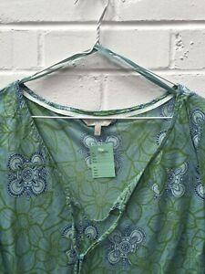 Fat Face Green Mix Dress Floral Design Sheer Long Sleeve Size UK 14 #CE GA-1746