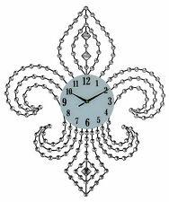 """Elegant Bejeweled Fleur De Lis Wall Clock with Crystal Accents 28x24"""""""
