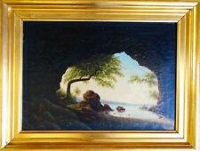 Antike Empire Ölgemälde Schönes Südmeerküste Landschäft Wunderbares Werk 1850