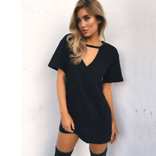 Womens Choker V Holiday Long Tops T-shirt Ladies Casual Party Mini Dress Blouse